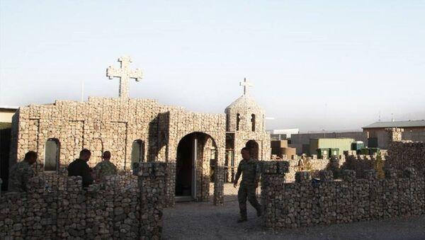 Церковь имени Святого Гоброна на военной базе Мармал в Афганистане - Sputnik Грузия