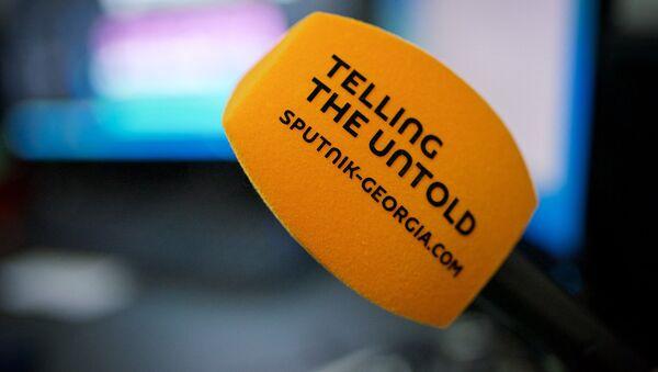 Микрофон Sputnik в студии агентства - Sputnik საქართველო