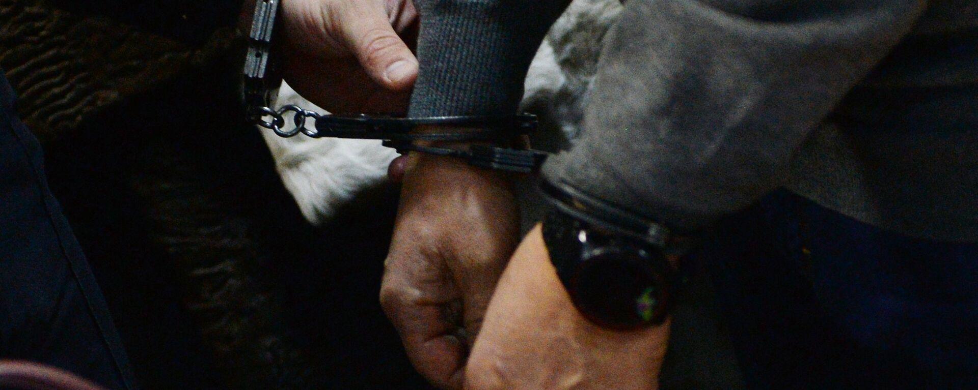 Приставы одевают наручники заключенному - Sputnik Грузия, 1920, 18.03.2020