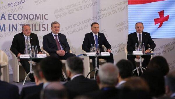 Президент и премьер Грузии, а также президенты Польши и Словакии - Sputnik Грузия