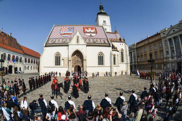 Церковь Святого Марка находится в центре Загреба и считается одним из символов и главных  достопримечательностей хорватской столицы. Сразу обращает на себя внимание необычная крыша церкви, покрытая разноцветными плитками   - Sputnik Грузия