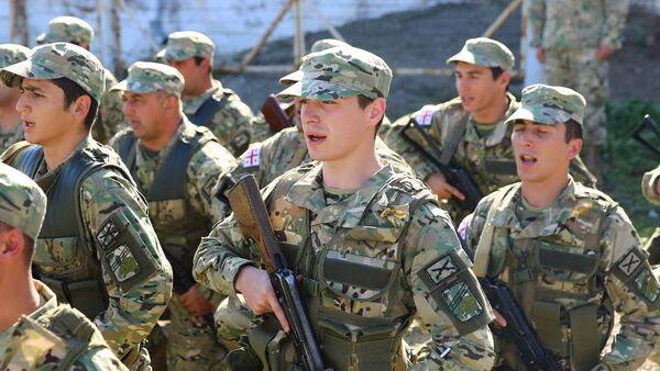Присяга резервистов на военной базе в Телави - Sputnik Грузия