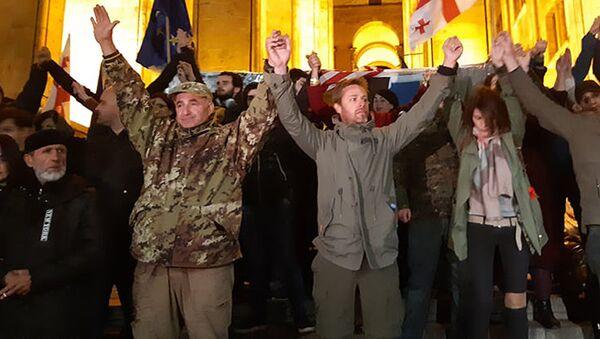 Акция в поддержку Зазы Саралидзе у здания бывшего парламента - Sputnik Грузия
