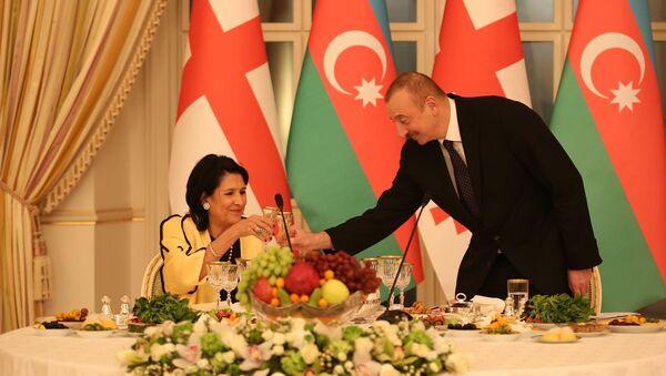Официальный ужин, президенты Грузии и Азербайджана Саломе Зурабишвили и Ильхам Алиев - Sputnik Грузия