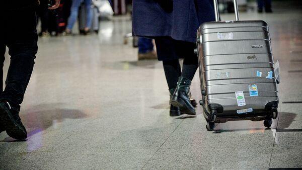 Чемодан в руках у туриста в аэропорту - Sputnik Грузия