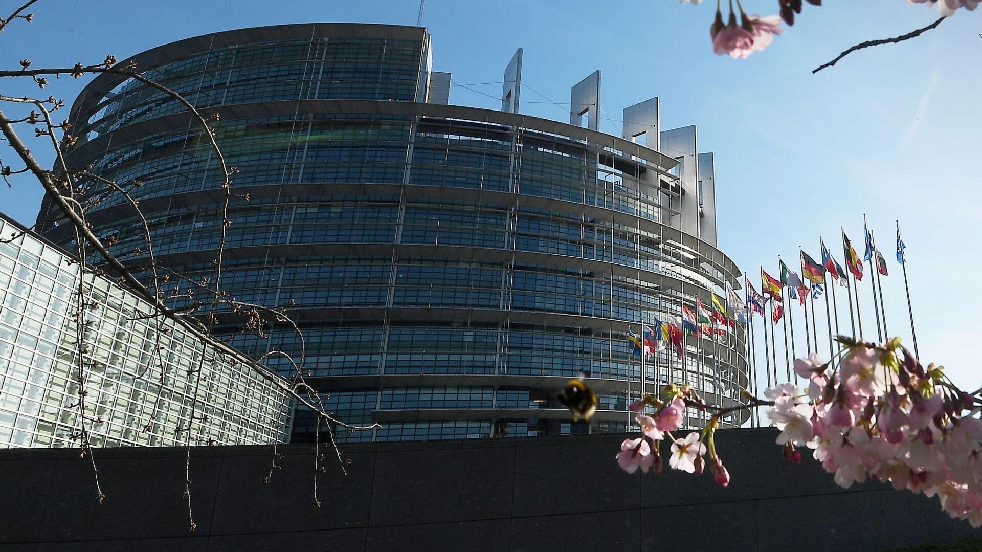 Цветущая вишня у здания Европейсого парламента в Страсбурге, Франция - Sputnik Грузия, 1920, 30.09.2021