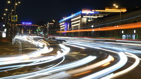 Здание МИА Россия сегодня в Москве до отключения подсветки в рамках экологической акции Час Земли - Sputnik Грузия