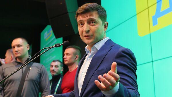 Брифинг Владимира Зеленского после оглашения предварительных итогов голосования - Sputnik Грузия
