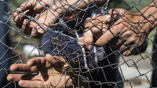 Мигранты ремонтируют забор в лагере беженцев Мориа на острове Лесбос в Греции - Sputnik Грузия