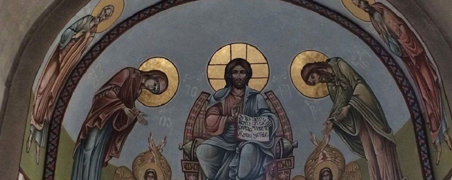 გიორგი გამთენაძის და გიორგი ყვავაძის მიერ მოხატული ტყიბულის წმინდა გიორგის სახელობის ეკლესია - Sputnik საქართველო, 1920, 26.09.2021