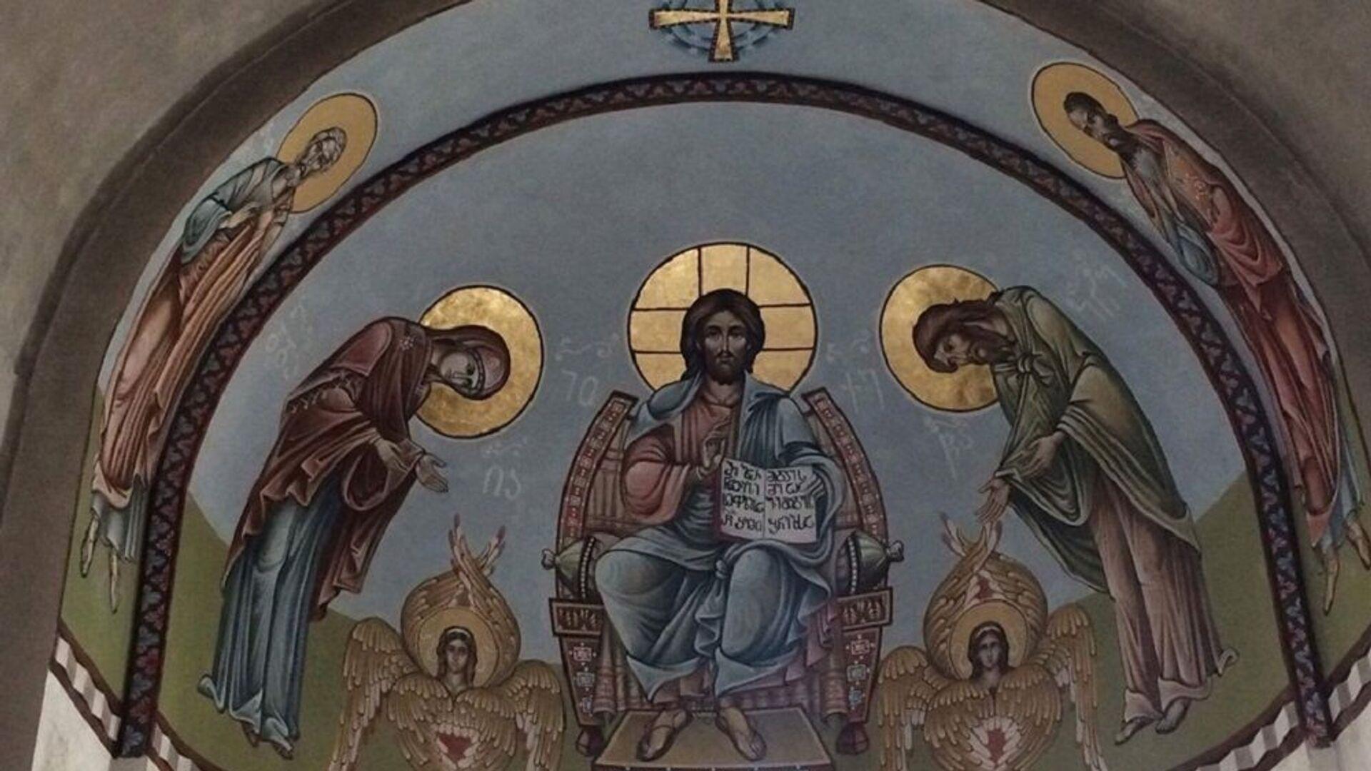 გიორგი გამთენაძის და გიორგი ყვავაძის მიერ მოხატული ტყიბულის წმინდა გიორგის სახელობის ეკლესია - Sputnik საქართველო, 1920, 31.07.2021