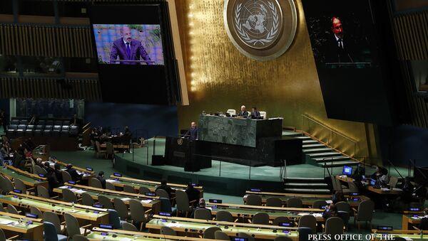 Выступление премьер-министра Армении Никола Пашиняна на Генеральной ассамблее ООН (25 сентября 2018). Нью-Йорк - Sputnik Грузия