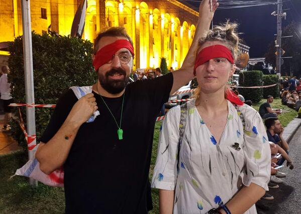 До тех пор граждане обещают протестовать в центре Тбилиси. Сюда приходят даже целыми семьями - Sputnik Грузия