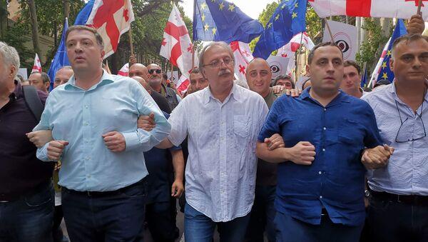 Григол Вашадзе со своими сторонниками на шествии протестующих с требованием отставки Георгия Гахария - Sputnik Грузия