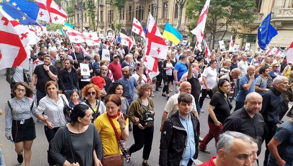 Шествие протестующих с требованием отставки Георгия Гахария - Sputnik Грузия