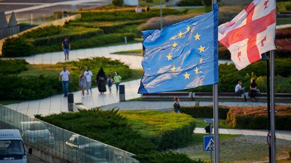 ევროკავშირისა და საქართველოს დროშები - Sputnik საქართველო