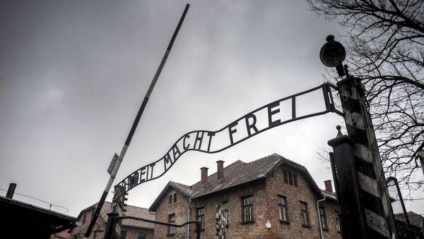 Центральные ворота бывшего концентрационного лагеря Аушвиц-Биркенау в Освенциме - Sputnik Грузия