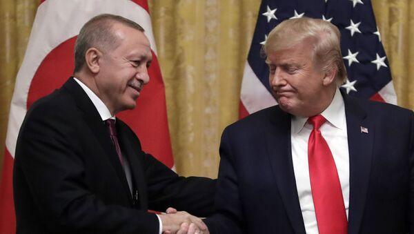 Президент Дональд Трамп обменивается рукопожатием с президентом Турции Реджепом Тайипом Эрдоганом - Sputnik Грузия