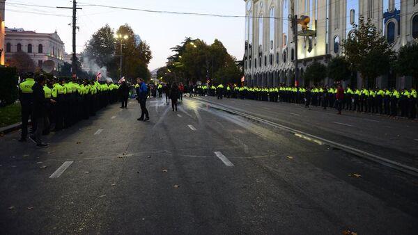 Спецназ на проспекте Руставели во время полицейской операции. С проспекта убирают палатки митингующих. Акция протеста оппозиции 18 ноября - Sputnik Грузия