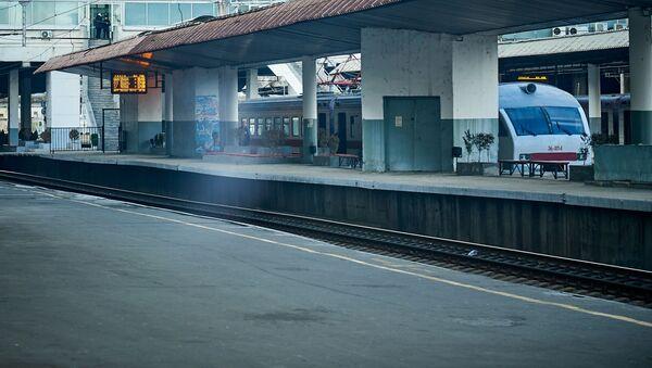 Пассажирский поезд на тбилисском железнодорожном вокзале - Sputnik Грузия
