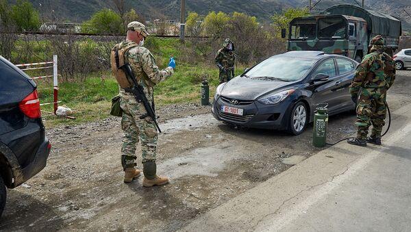 Дезинфекция машин военными на блокпосту - Sputnik Грузия