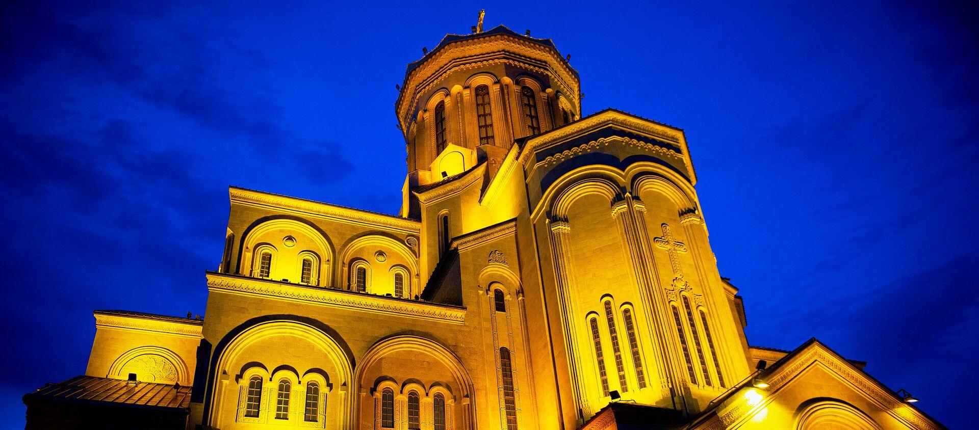 Пасха на дистанции - верующие в храме Святой Троицы Самеба - Sputnik Грузия, 1920, 17.02.2021