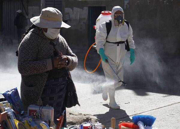 Муниципальный работник во время дезинфекции улиц в Пуно - Sputnik Грузия